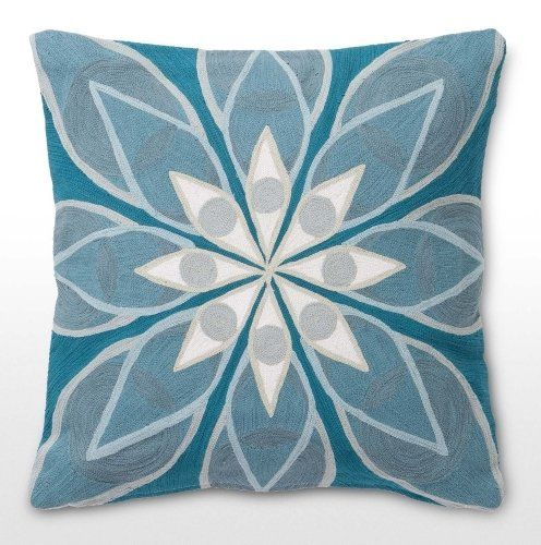 The Eyes Embroidered cushion in Blue, designed by Allegra Hicks. | MADE.COM