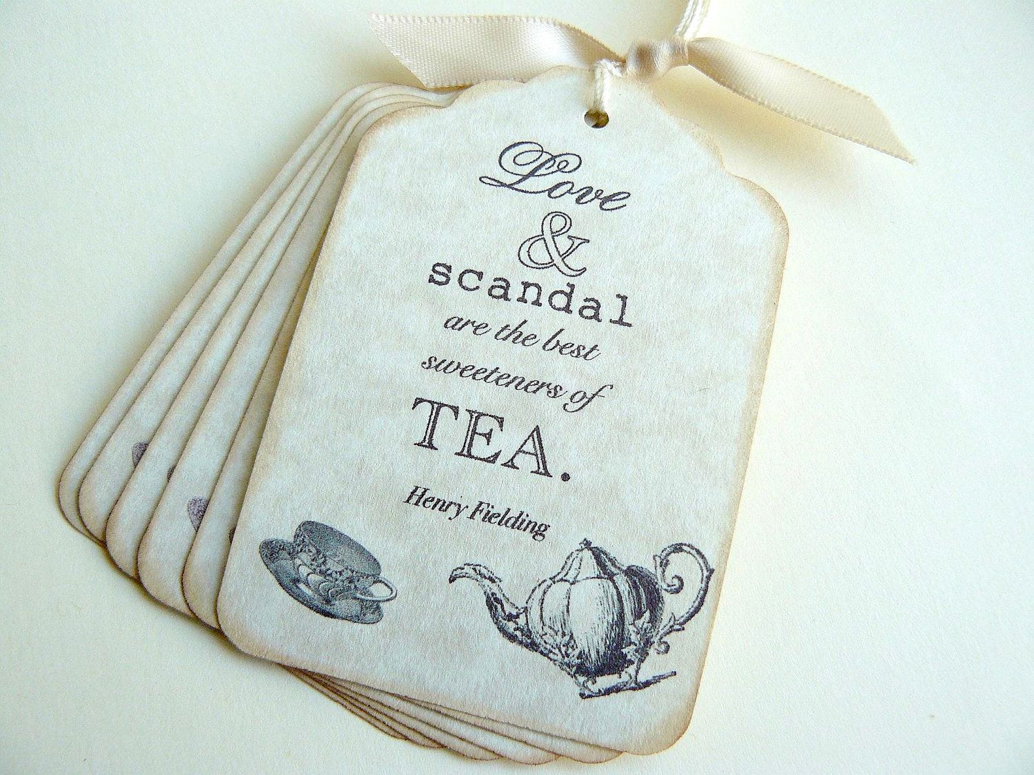 Bridal Shower Favor Tags Sayings : VIntage Tea Party Tags, Bridal Shower Favor Tags, Gift Tags, Place ...