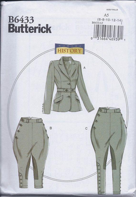 Butterick 6433 Misses Women\'s Edwardian Sportman\'s Suit Jodphurs ...
