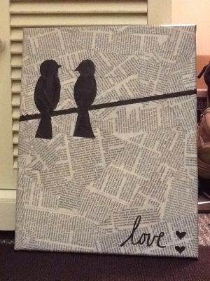 """Made this. Took about 2 weeks (cuz I have no time to craft). ModPodge the newspaper then painted the birds and """"love"""". This is going in my bathroom =] by X_cach"""