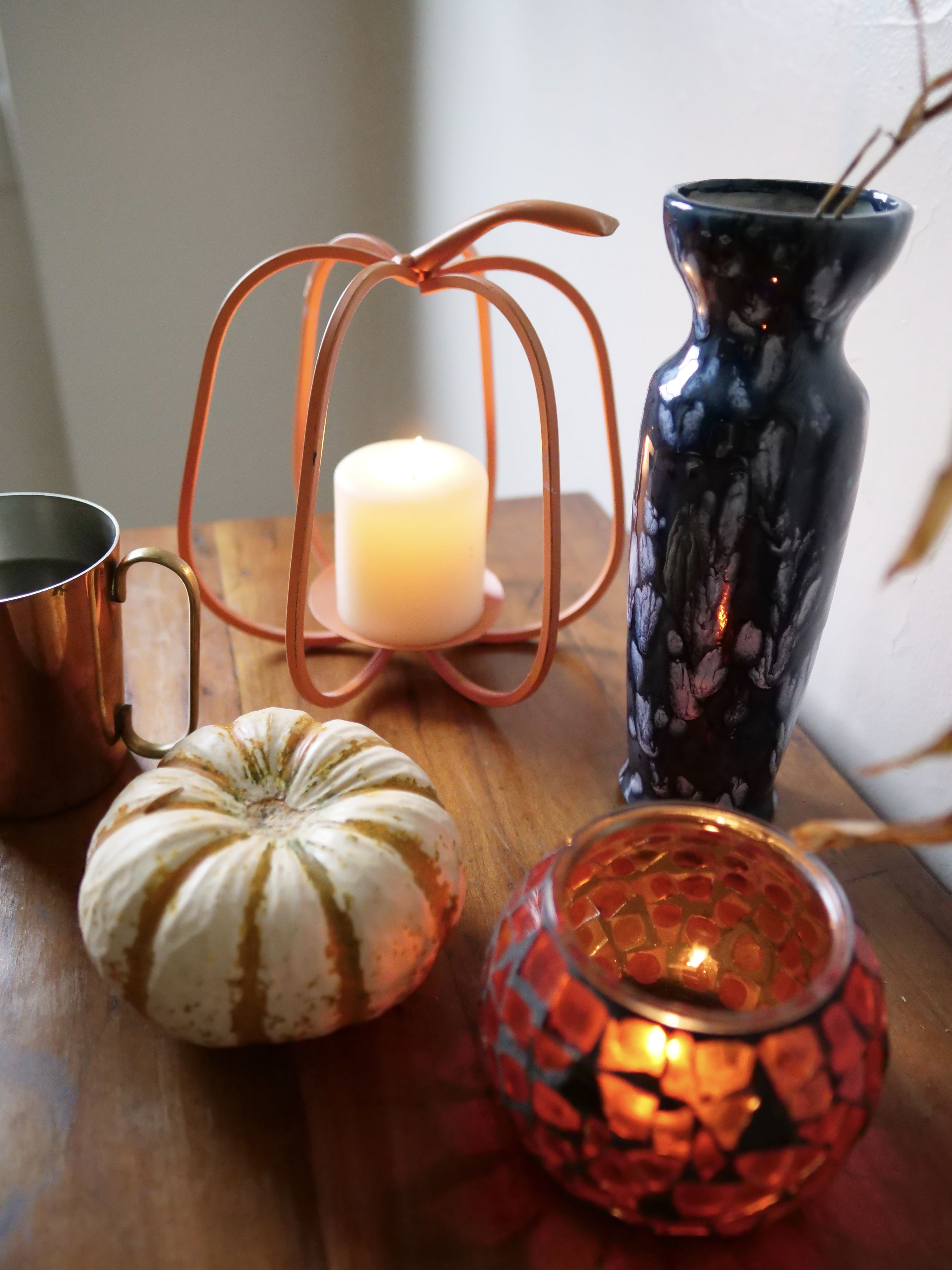 100 Thrifted Fall Table Pumpkin Candle Holder Pillar Candle