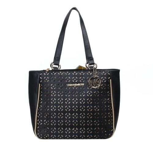 Michael Kors Logo Perforated Large Black Tote