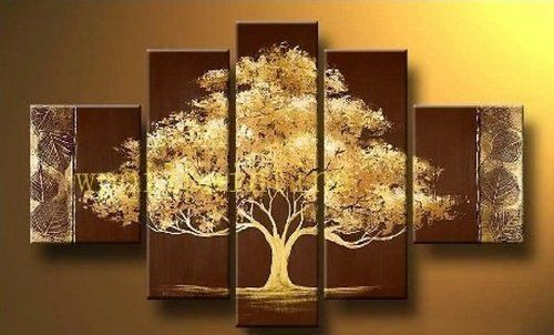 BESTSELLER! 5 Pics Big Golden Tree Abstract Modern Art 100% Hand Painted Oil Painting on Canvas Wall Art Deco Home Decoration (Unstret... $78.00