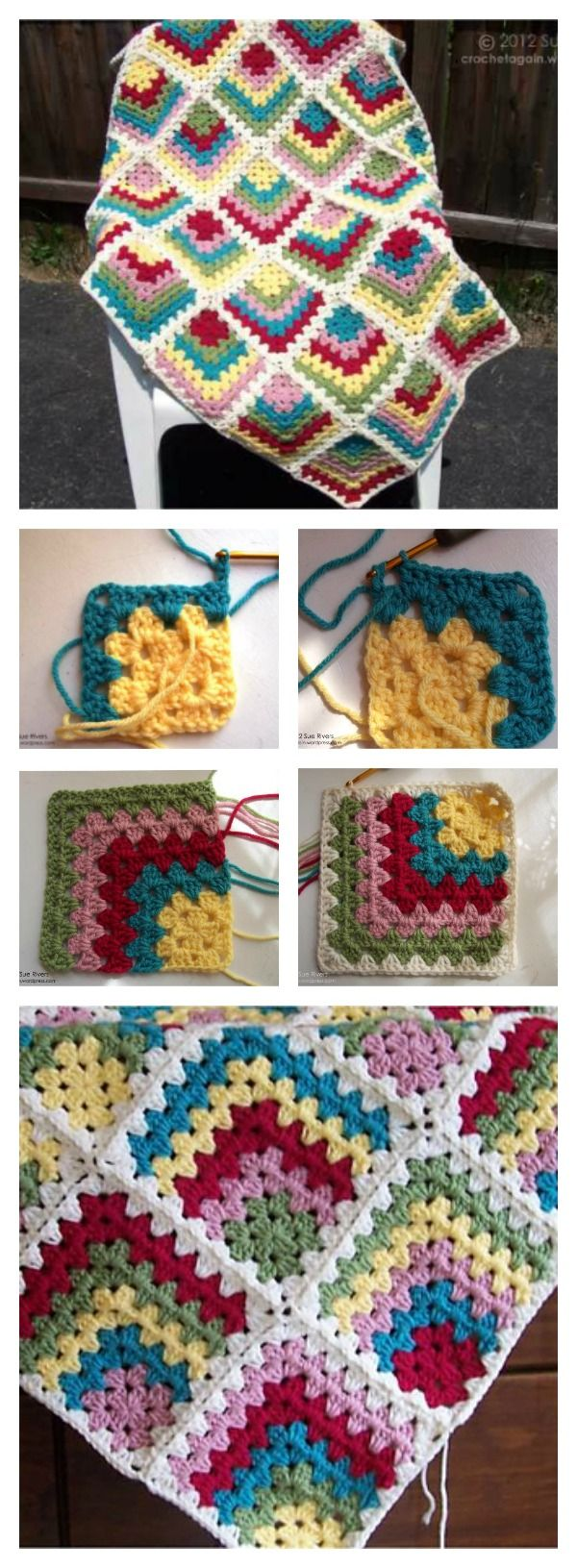 Free Mitered Granny Square Afghan Crochet Pattern | Decken ...