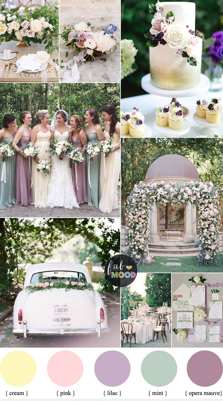 Pastel wedding colour palette cream lilac mauve and mint for Wedding color scheme ideas