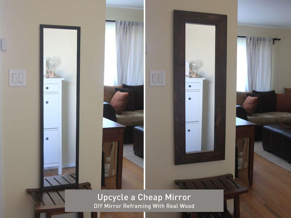 Diy Reframing A Cheap Mirror Cheap Mirrors Cheap Wall Mirrors