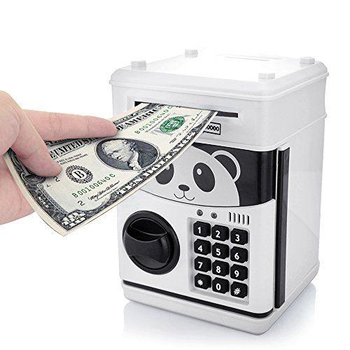 Pink Digital Electric Piggy Bank ATM Machine Card Pin Coin Notes Money Saving