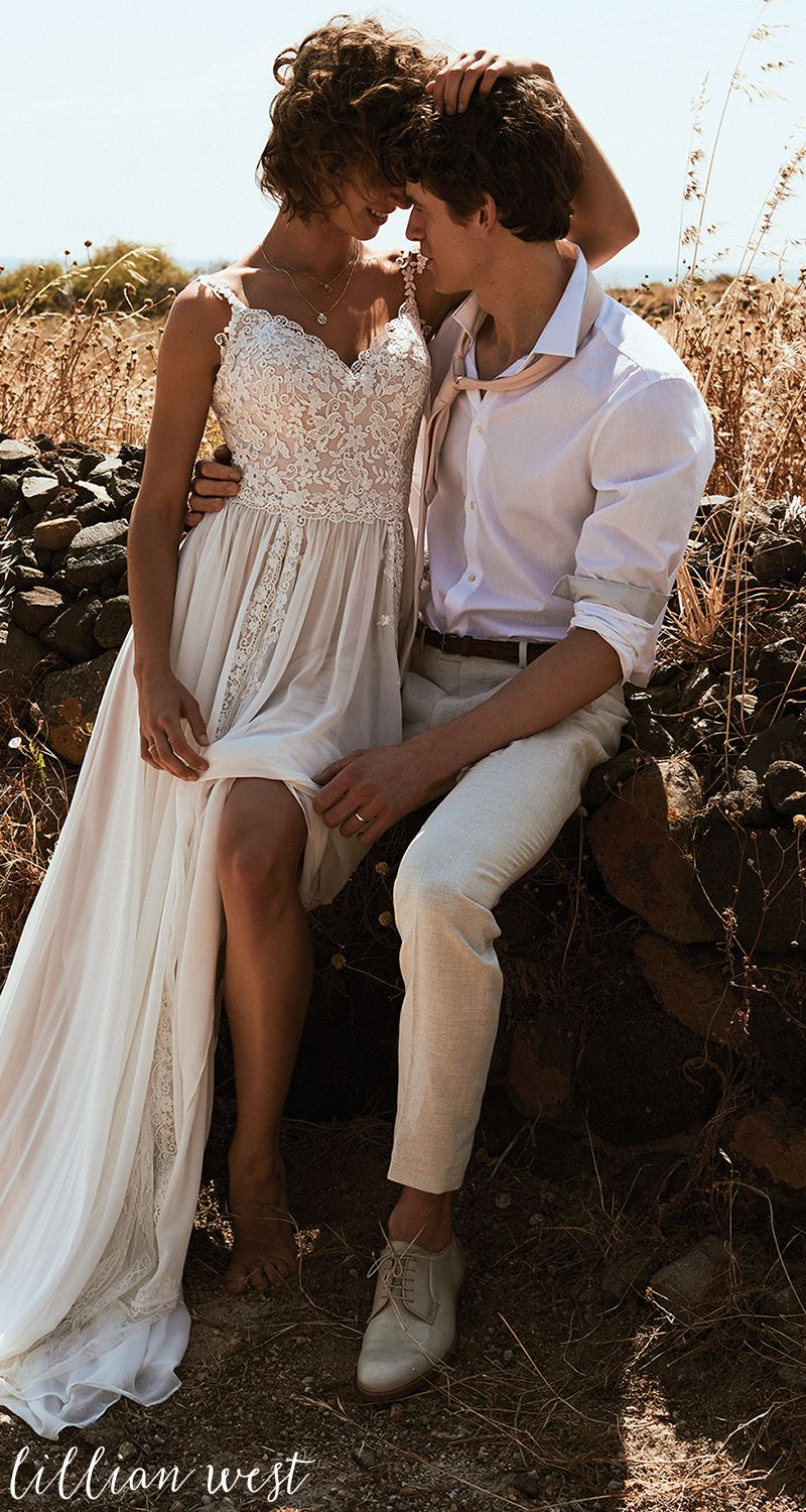 Fall outdoor wedding dresses  Style  Vertical Lace Panel ALine Wedding Dress lillianwest