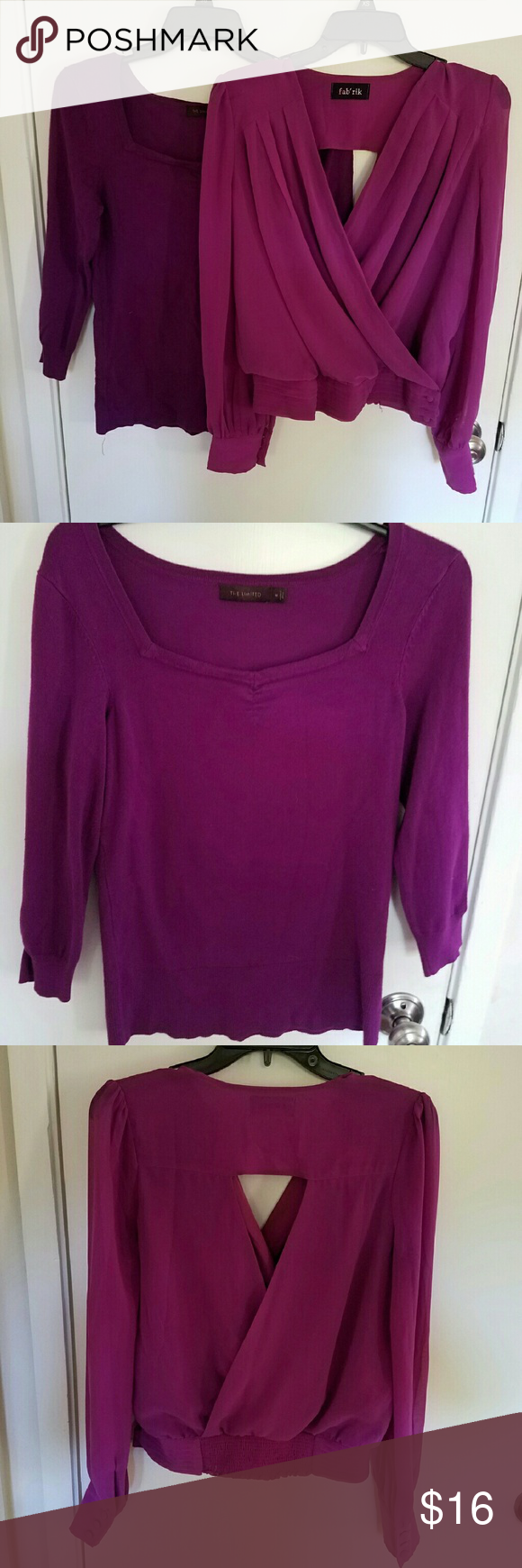 Purple Fuchsia 2PC Bundle The Limited M The boatneck 3/4 sleeve top might be considered a thin sweater. It is form fitting with its stretch. Versatile day or night piece. There is some very, very minor wear at the corner of the collar. See the last pic. You might not even notice it in person. The other top is gorgeous! Open back. Semi sheer long sleeves. By Fab'rik. Is missing a button at the side clasp. See pic. Buttons at cuffs are all there. The Limited Tops Blouses