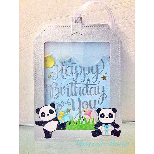 Happy Bday shaker card and my first tag ever! #mamaelephant pandamonium, just hatched, make a wish and tags a lot - creative cuts #Padgram
