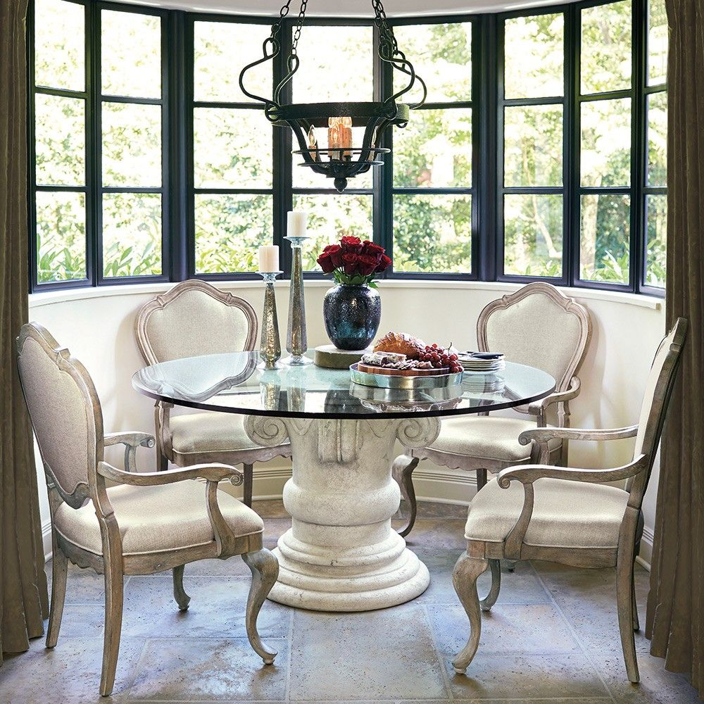 The Campania Stone Glass Top Round Dining Table In Oyster By