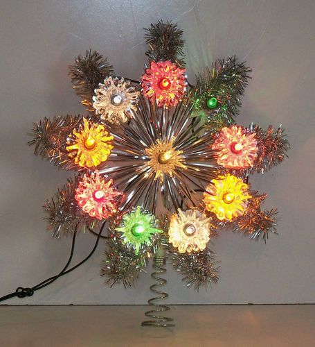 Vintage Sears Aluminum Star Christmas Tree Topper with Lights eBay