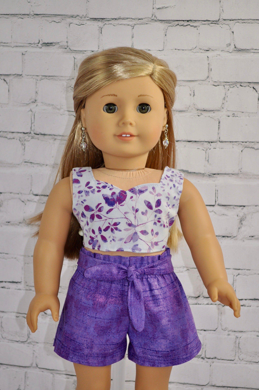 "Purple shorts set 18/"" doll clothing fits American Girl"