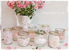 8 #Windlichter im Shabby- und Vintage-Look als #Hochzeitsdeko. http://de.dawanda.com/product/85192035-8-windlichter-rosa-hochzeitsdeko-vintage-shabby