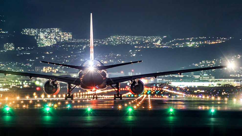 AWESOME NIGHT PANORAMA OF AIRPORT   RUNWAY   LIGHTS   CITY LIGHTS