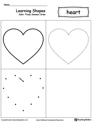 learning shapes color trace connect and draw a heart learning shapes shapes worksheets. Black Bedroom Furniture Sets. Home Design Ideas