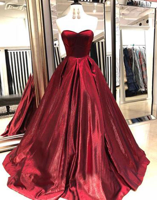 49009715ee Strapless deep red satin long a line evening dress