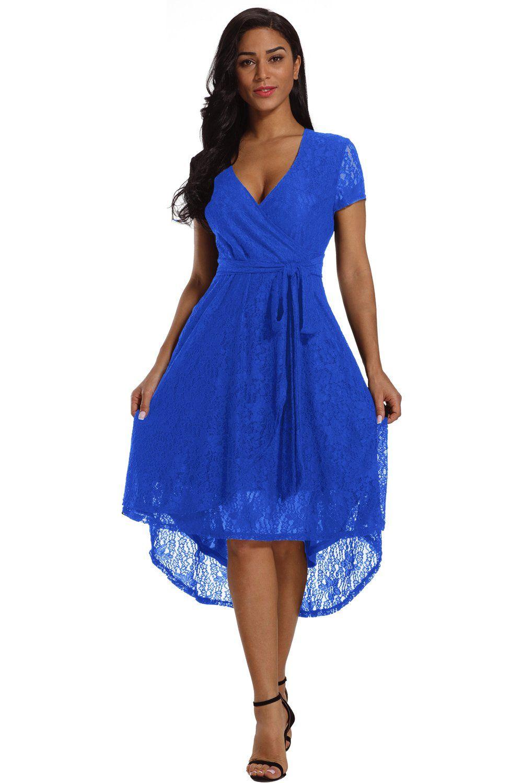 Royal blue wrap and tie lace hilo midi dress short