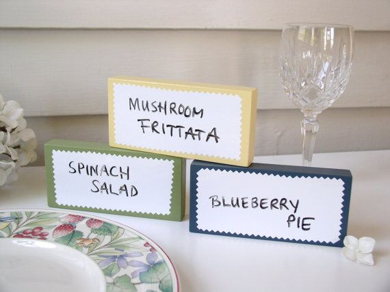 Buffet Table Signs Menu Labels Dry Erase or Chalkboard Blocks & Buffet Table Signs Menu Labels Dry Erase or Chalkboard Blocks ...