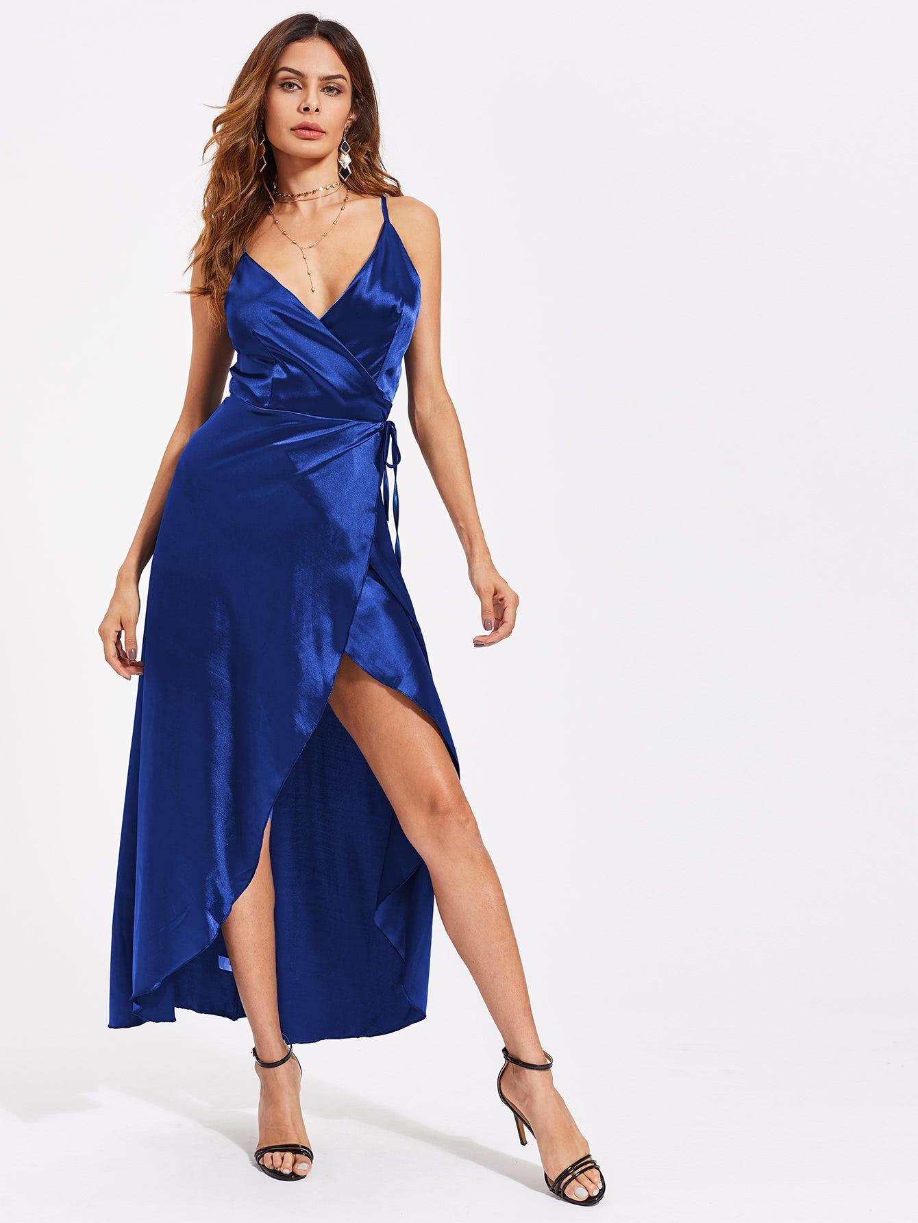 7d1273598a Shop Satin V-neckline Overlap Dress online. SheIn offers Satin V-neckline  Overlap Dress   more to fit your fashionable needs.