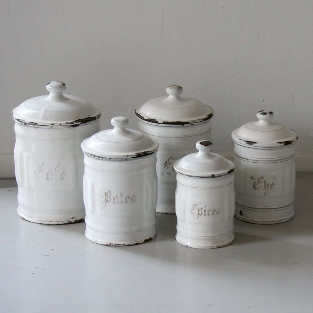 Charmant [ French Canisters Kitchen Enamel Canister Set Vintage Pair Chairish ]    Best Free Home Design Idea U0026 Inspiration