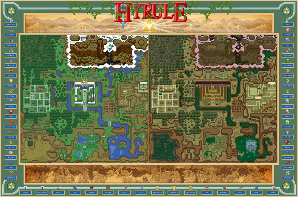 The light dark realms of hyrule unlabeled nintendo video the light dark realms of hyrule unlabeled world mapsgame sciox Choice Image