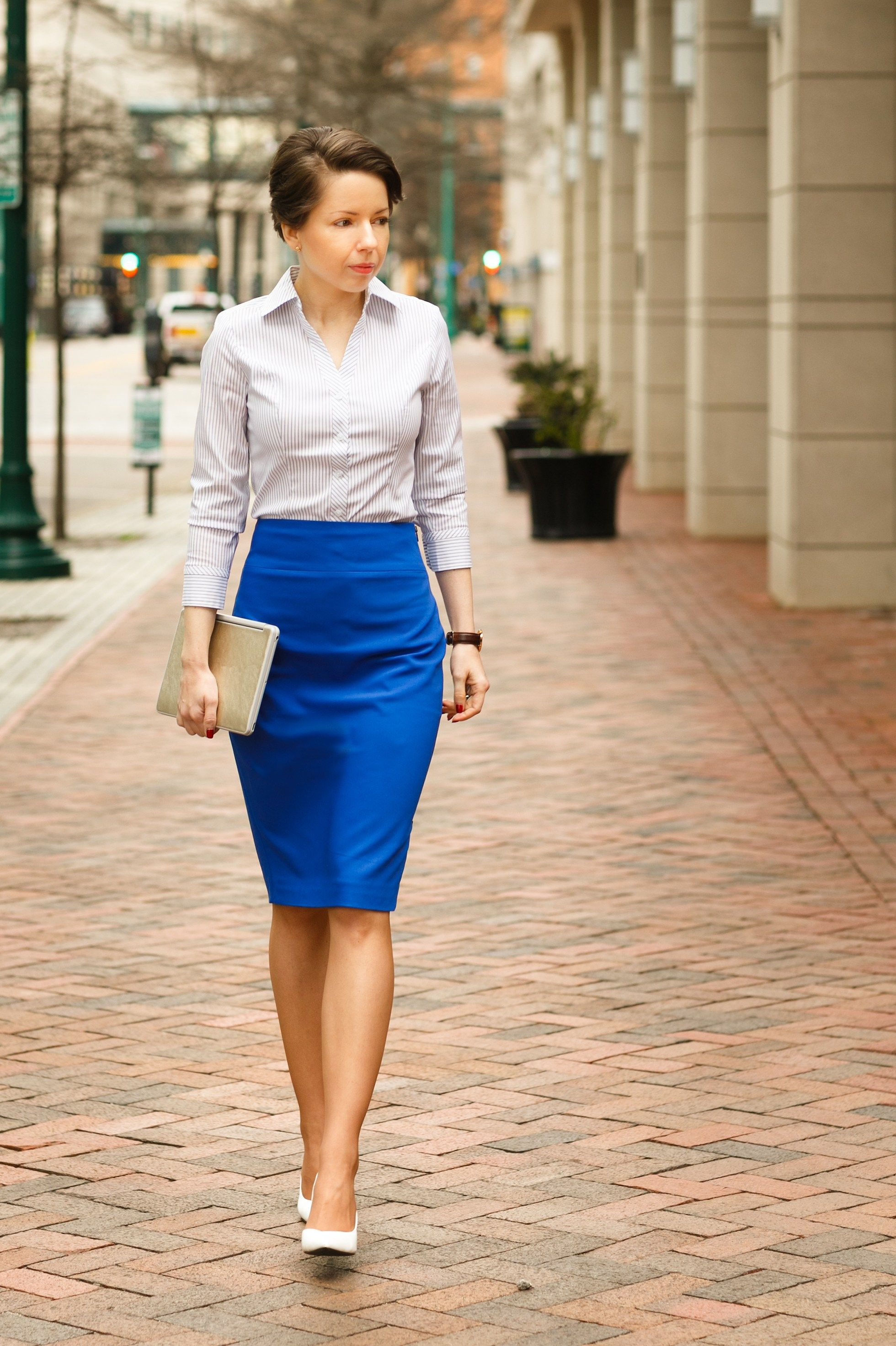 196dba87be work uniform | striped shirt, cobalt blue pencil skirt - red reticule