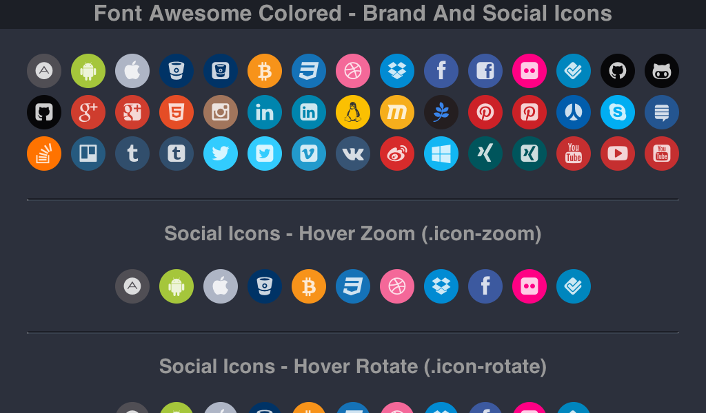 Font Awesome Colored Brand And Social Icons Social