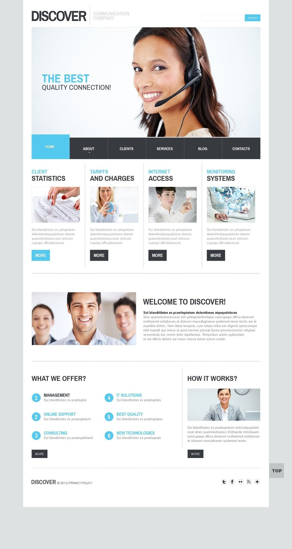 Communications Facebook Html Cms Template Facebook Communications Html Website Template Corporate Website Templates Responsive Website Template