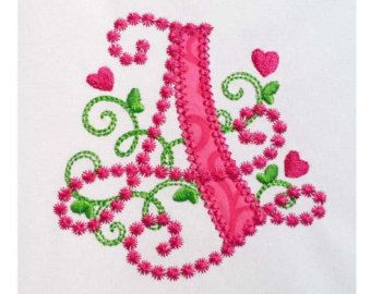Cute Letter A Alphabet For Lil Princess Hearts Applique Embroidery Design Monogram Initials Valentines Day AppliqueDL058