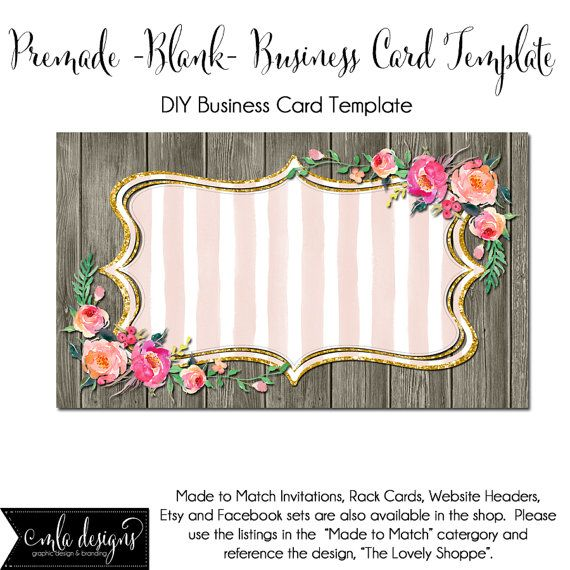 Business Card Template The Lovely Shoppe Made To Match Etsy Sets - Diy business card template
