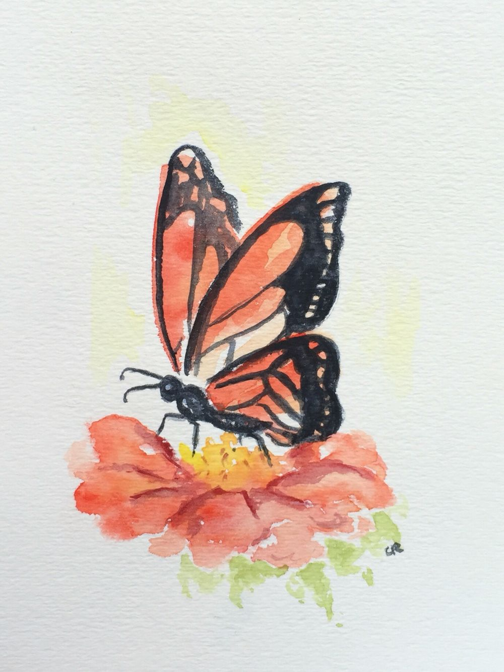 Monarch Butterfly Watercolor Painting Nursery Art Original