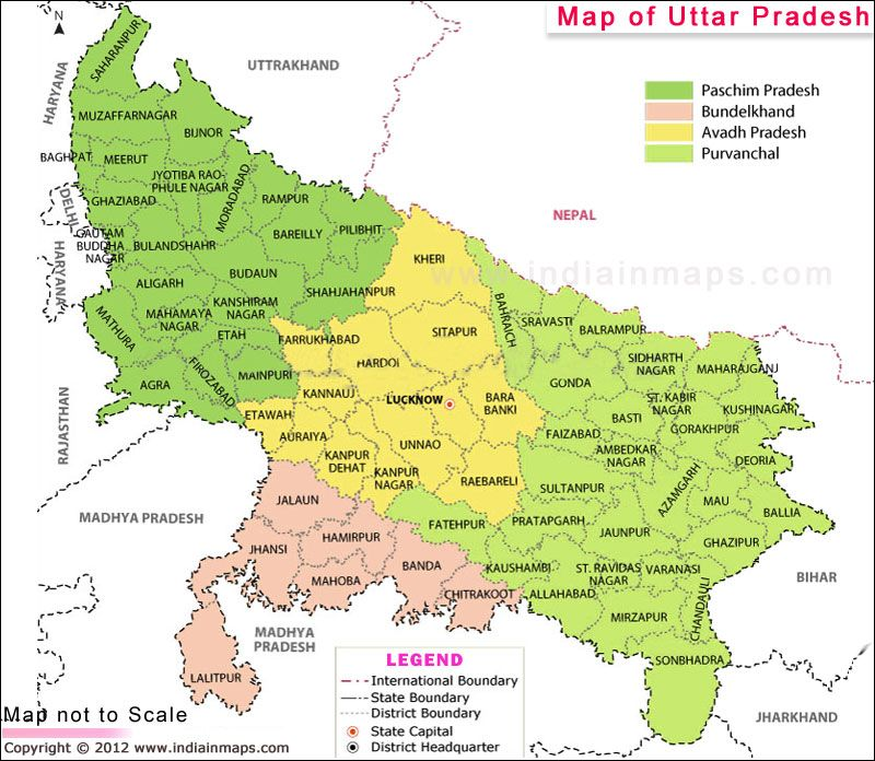 Uttar Pradesh Location Map India map, Uttar pradesh