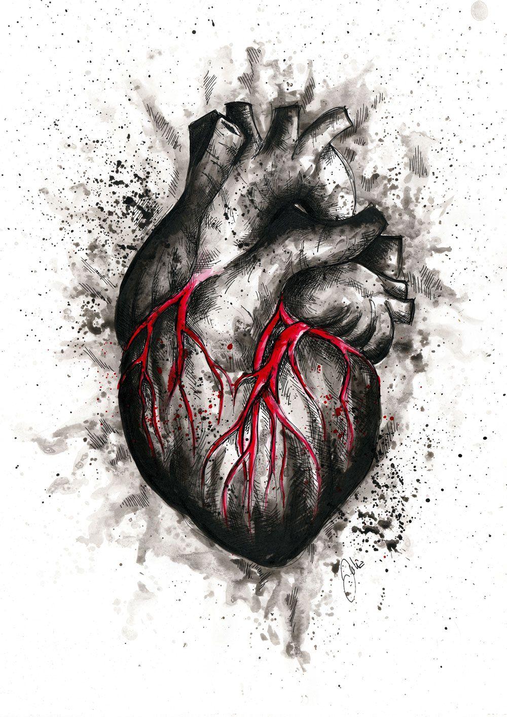Фотография сердца в графике