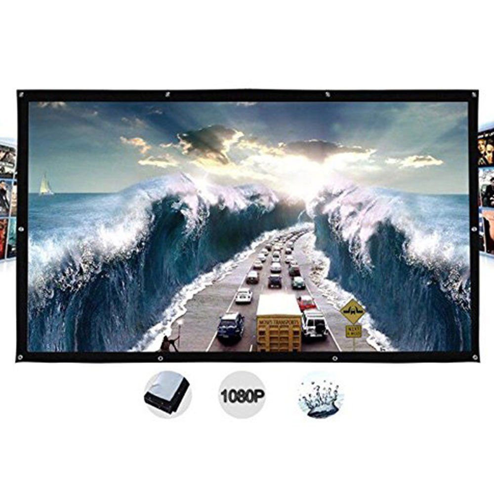120inch Portable Projector Screen HD 4:3 Foldable Home Theater Movies White