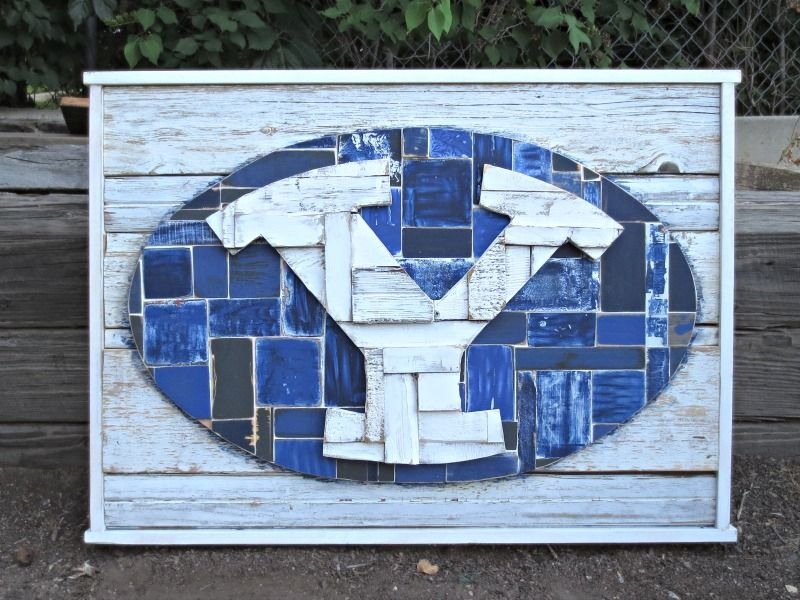 Reclaimed Wood Wall Art Byu Football Logo Byu Football Byu Cougars Byu