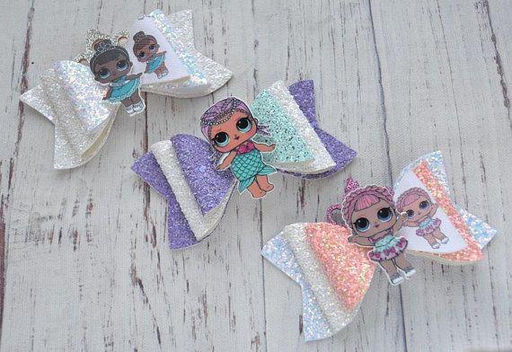 """on a clip Handmade Surprise doll hair bow 3.5/""""bow"""