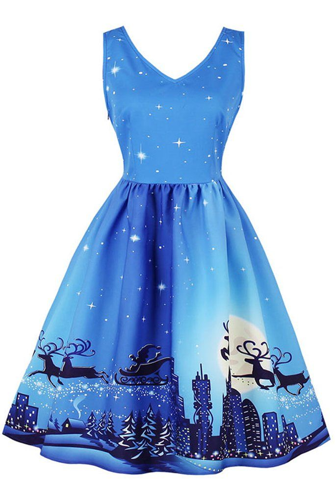 Atomic Blue #Christmas Night #Dress - Atomic Blue #Christmas Night #Dress Best Of Rockabilly Dresses