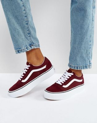 Vans Old Skool Platform Sneakers In Burgundy in 2019 | shoes | Shoes ...