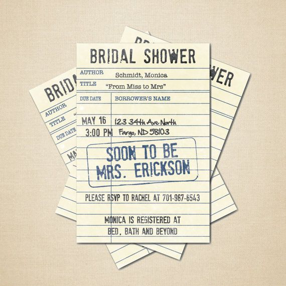 Printable Bridal Shower Invitation 4x6 Diy Library Card Digital