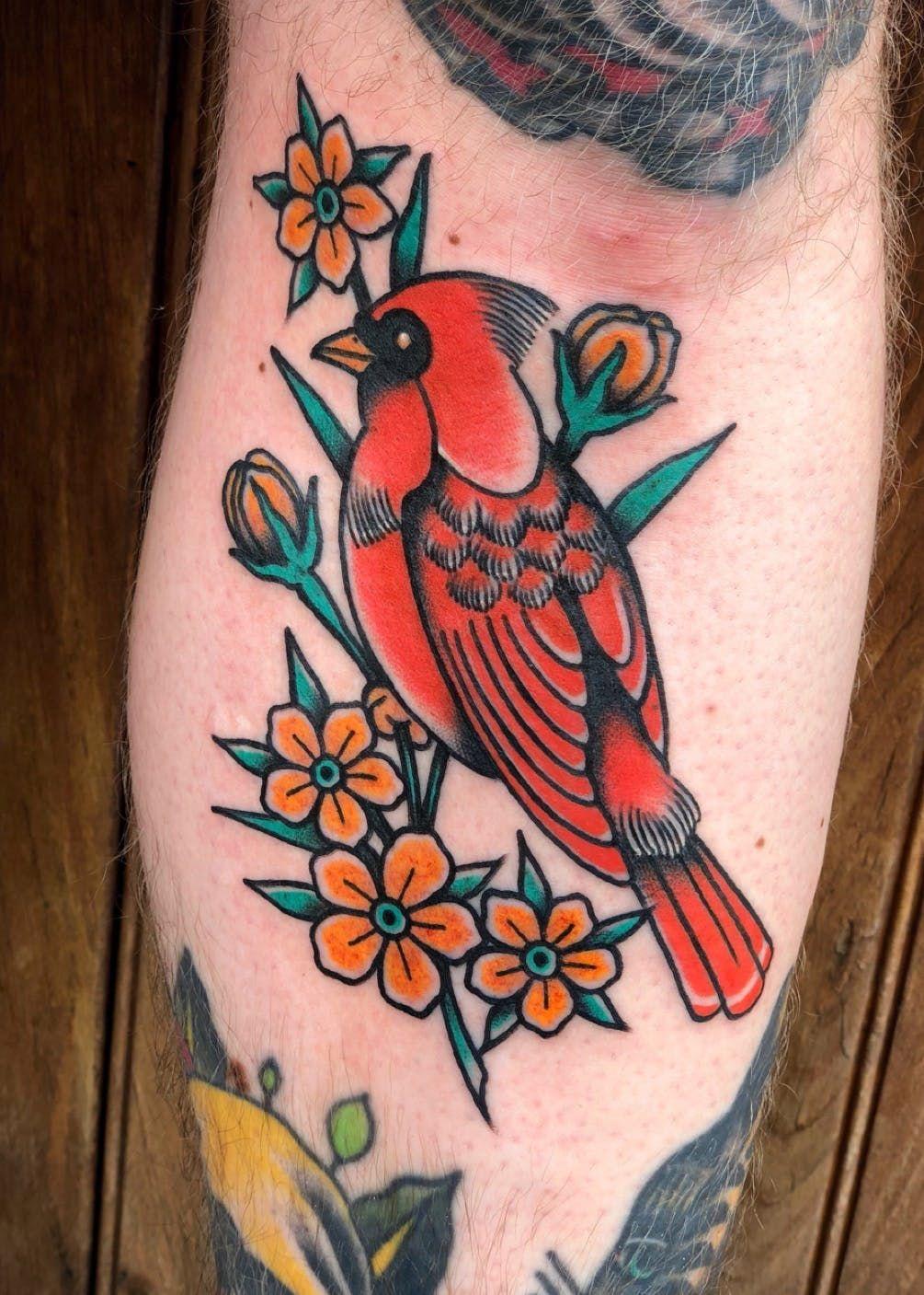Perched Cardinal Cardinaltattoo Birdtattoo Neotraditional Traditional Traditional Tattoo Flowers Traditional Tattoo Animals Traditional Tattoo Bird