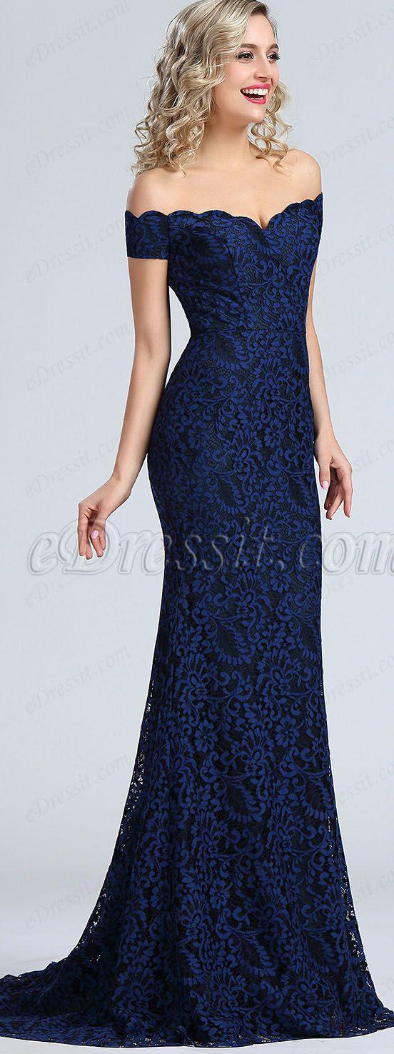Blue Off Shoulder Lace Prom Dress #eDressit | Dress | Pinterest ...