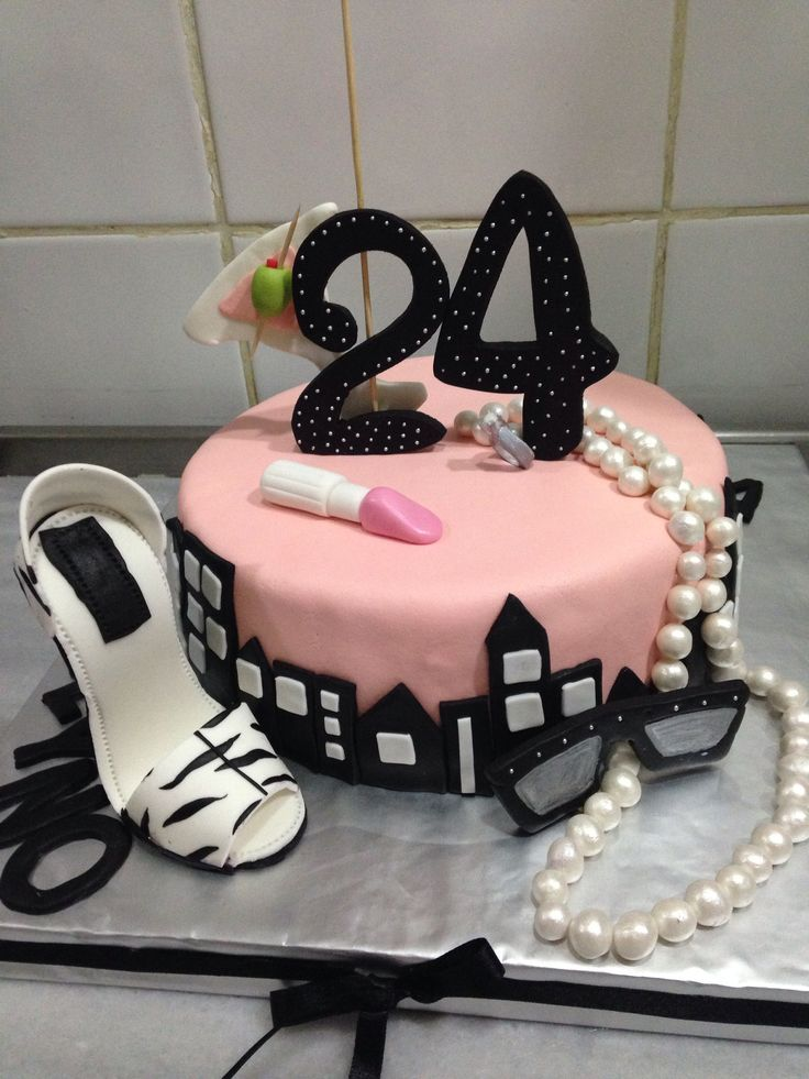 Enjoyable 24 Birthday Cake Martini Sunglasses Shoe Lipstick Cake Personalised Birthday Cards Veneteletsinfo