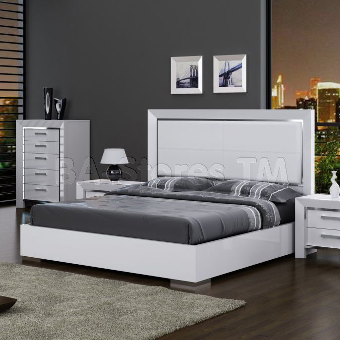 ibiza high gloss white bed with leather headboard by white line