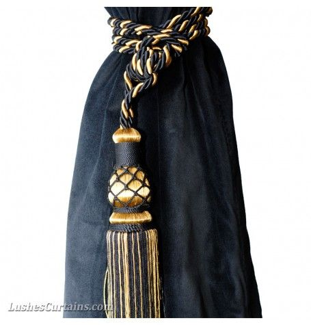 This Is For 1 Elegant Luxurious Brand New Large Beautiful Handmade Black Gold Color Window Curtain Drap Black And Gold Curtains Curtain Tie Backs Gold Curtains