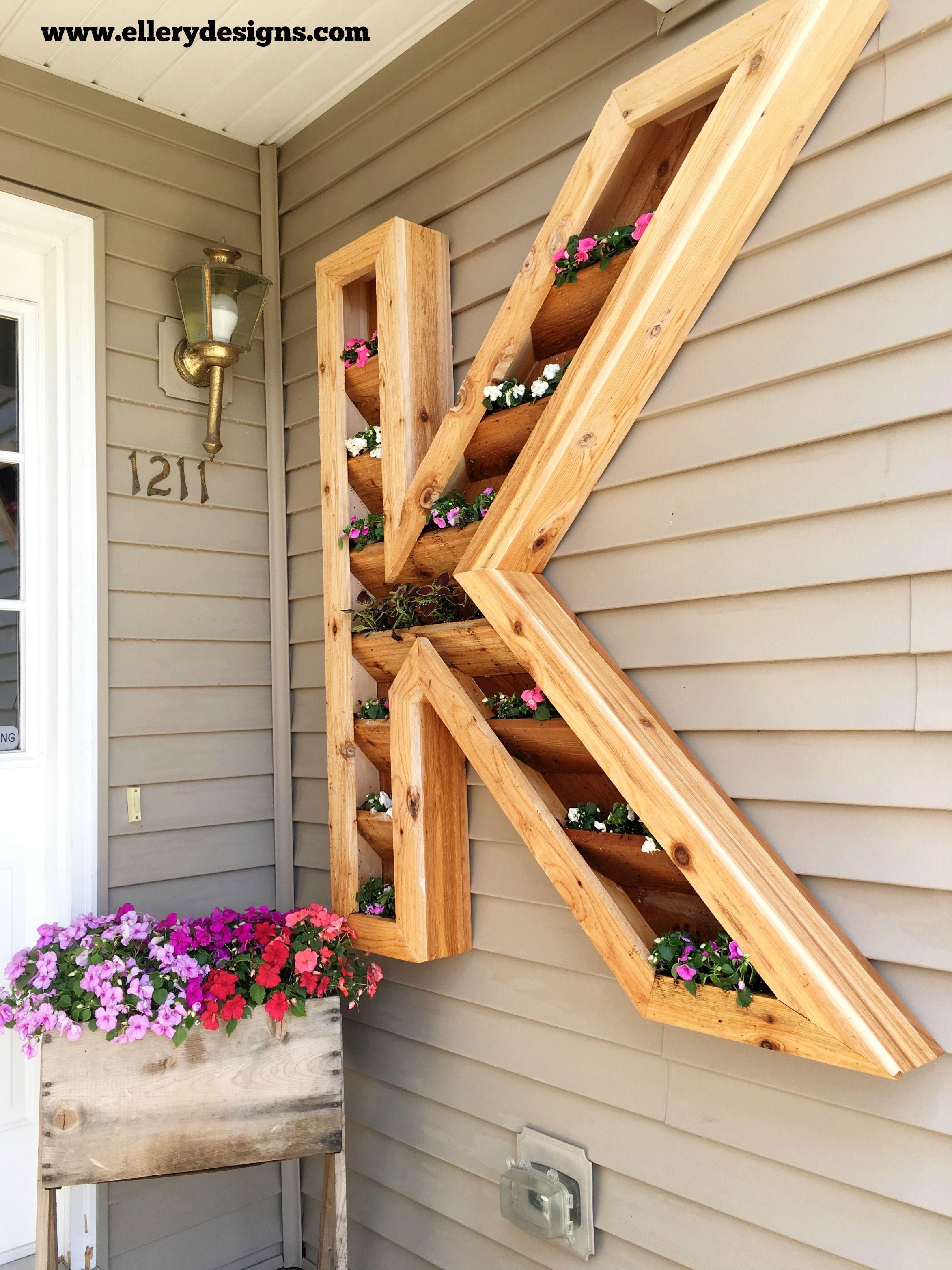 DIY Cedar Monogram Planter Box Wood planter box, Wood