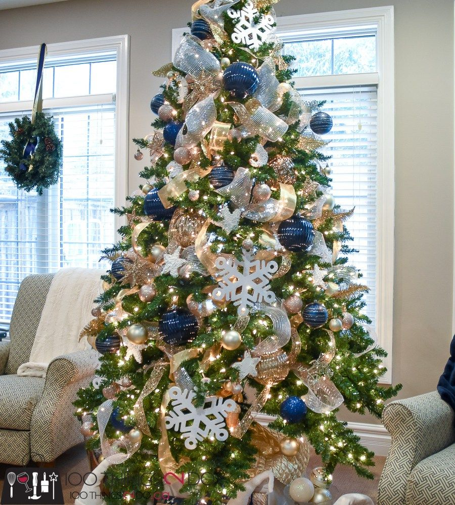 Christmas Tree Color Theme White Silver And Navy Blue Blue Christmas Tree Decorations Colorful Christmas Tree Christmas Tree Inspiration