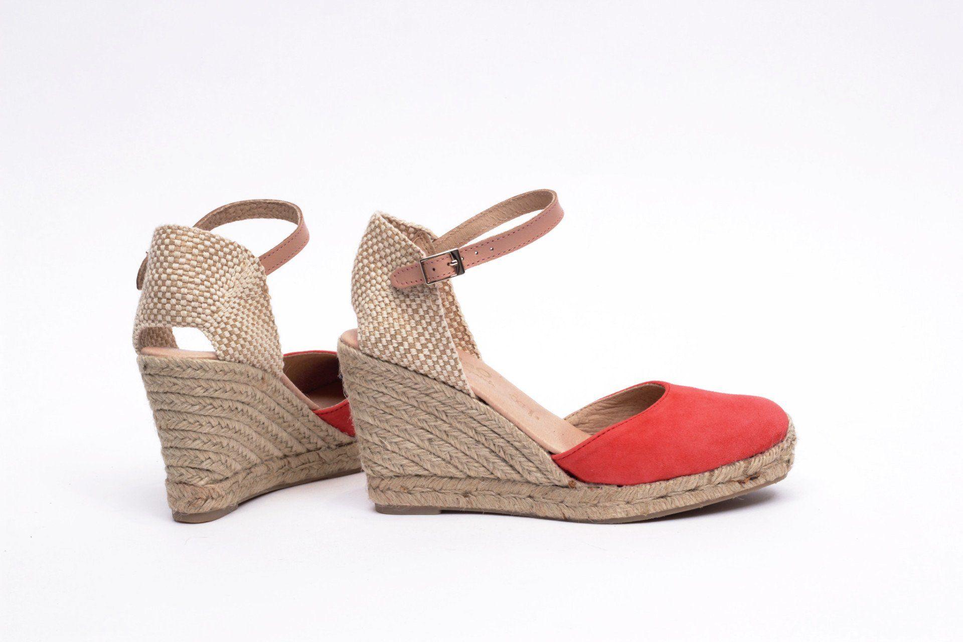 Cómodo Mimao Sandalias Mujer Rojo Esparto – Coral Tacón Cuña Color RAjL354q