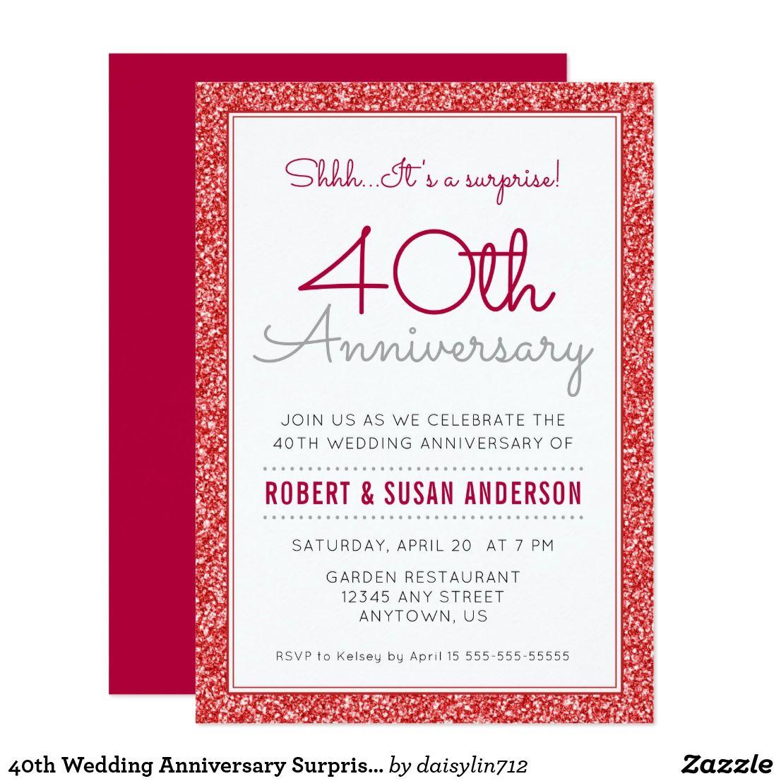 40th Wedding Anniversary Surprise Faux Red Glitter Invitation ...