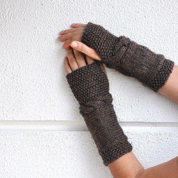 Brown Fingerless Gloves Arm Warmers Hand Knit Chic Autumn ...